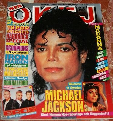 Okej Swedish Magazine 1988 Michael Jackson+Iron Maiden+Bros+Madonna+A-Ha+Sam Fox
