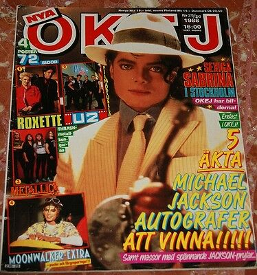 Okej Swedish Magazine 1988 Michael Jackson+Sabrina Salerno+Roxette+Bros+Europe