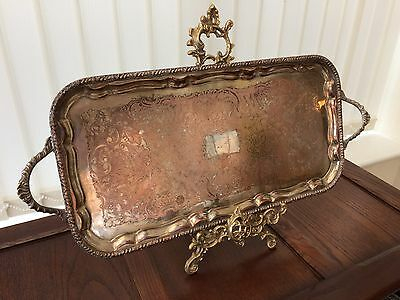 superb quality 62cm x 27cm antique silver on copper butler serving tray