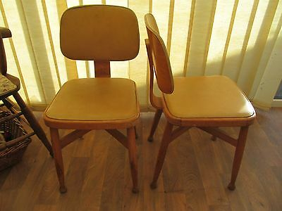 Pair of Kitchen Chairs X Stretcher Ball Feet Bentwood Back Vintage 50s Furniture