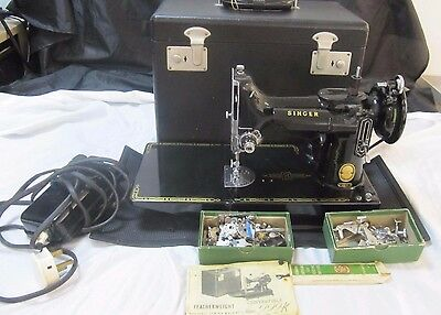 Vintage 221K Singer Featherweight Sewing Machine, Carry Case.,Keys & Accessories