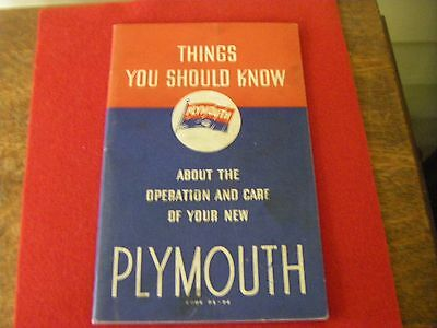 Vintage 1936 Owners Manual for Plymouth Automobiles Cars