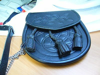CELTIC EMBOSSED BLACK LEATHER  SPORRAN With Belt and Chain
