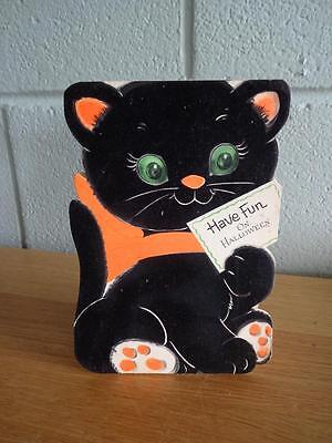 A Vintage Flocked Cat Halloween Greeting Card Gibson
