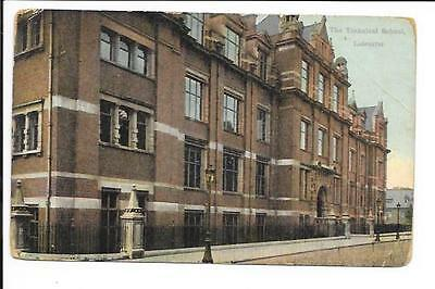 Old postcard, 'The Technical School, Leicester'. Posted 1920.