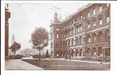Old postcard, 'View from Home, St. Thomas' Hospital, London'. Posted 1929.