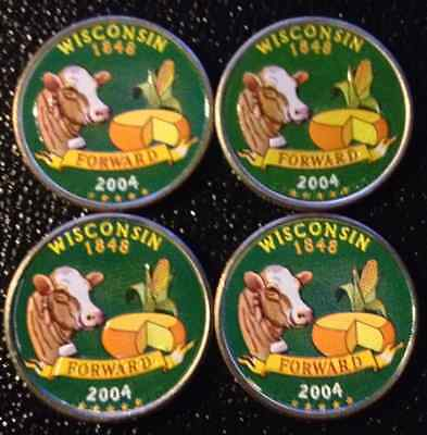 Lot Of 4 2004 Colorized Wisconsin State Quarters Blowout Price