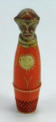 Art Deco celluloid novelty clown sewing thimble needle case thread holder