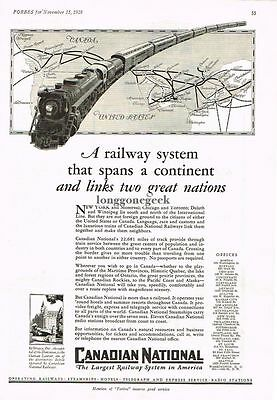 1928 Canadian National RY Spans Continent art Vtg Print Ad system map in the ad