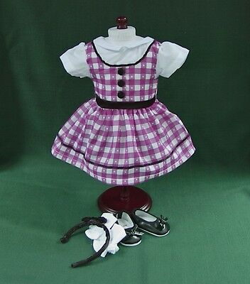 1950s PURPLE GINGHAM SCHOOL OUTFIT w SHOES and SOCKS for AMERICAN GIRL MARYELLEN