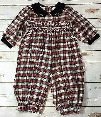Vintage Plaid Smocked One-Piece Christmas Romper Holiday Baby Girl 6-9M NWT