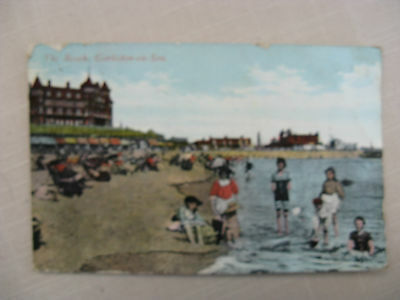 Postcard. The Beach, Gorleston-on-sea.Stamped and dated 1905