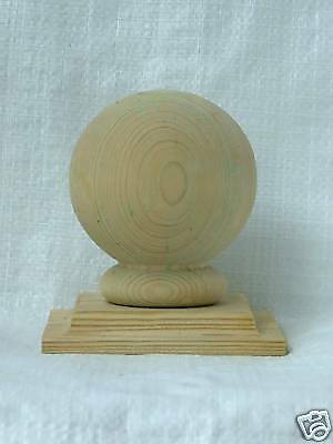 "4"" Wooden MK2 Ball Top Fence Finial + Cap (set of 4)"