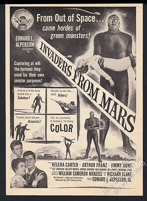 1953 Invaders From Mars movie release vintage print ad