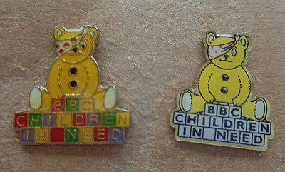 Two Pudsey Bear Lapel Badges -Children In Need -On Wall