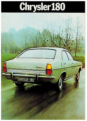 Chrysler 180 Catalogue 2 Pages 1973 Format A4 France