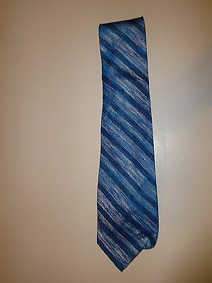 """Vintage 3 1/2"""" Wide Turquoise Blue & Silver Striped Neck Tie Acetate"""