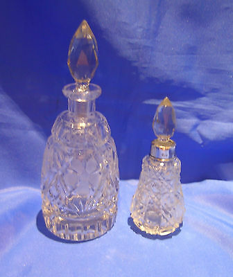 1922 Silver Collar Cut Glass Perfume Bottle & 1 Other