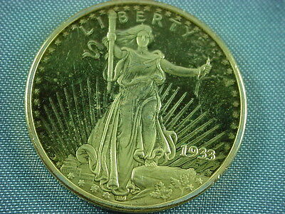 1933 United States Treasury Liberty $20 Dollar Gold Plated Coin COPY QB1008