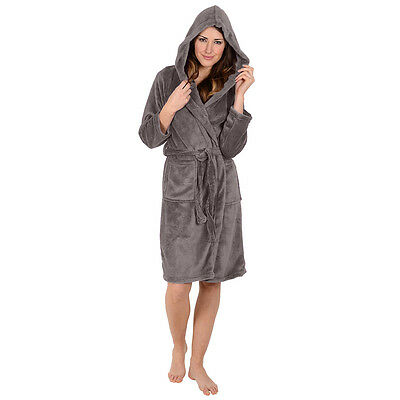 Womens Bathrobe Ladies Robe -Hooded Super Soft-Coral Fleece- GRAY USA Seller e091bee7d