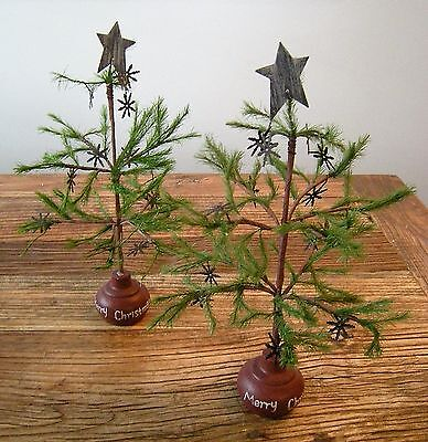 Lot Vtg Style Mini Feather Christmas Tree Wood Base Rusty Metal Snowflakes Prim
