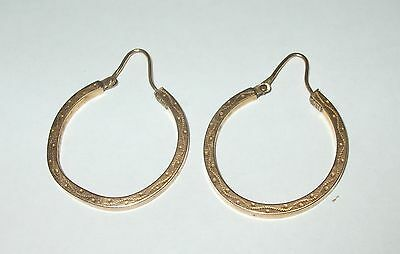 VTG Antique Solid 10K Rose Gold Fancy Chased Pattern Hoops Earrings 2MMx1.25""