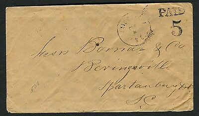 UNIONVILLE SC FEB 5 1862 PAID 5 DT IA on cover to Bivingsville SC