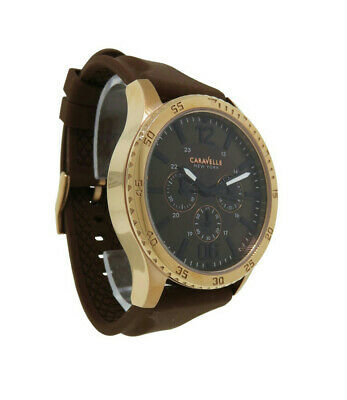 Caravelle New York 44A102 Men's Copper Tone Multi-Dial Black Analog Watch