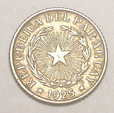 1925 Paraguay Paraguan 50 Centavos Radiant Star Coin VF+