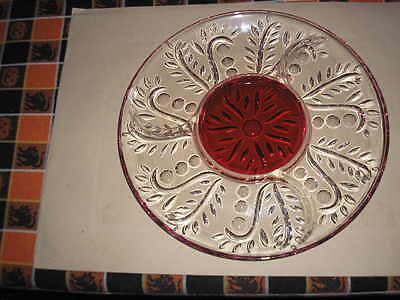 Cranberry & Crystal Divided Serving Plate