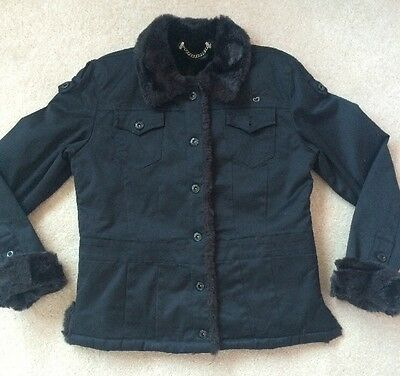 Girls Black, Fur Lined, Guess Jeans Jacket - Age 11
