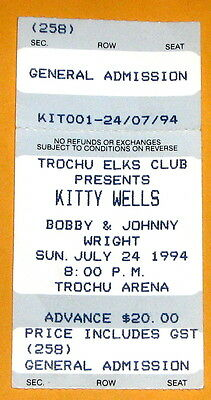 Kitty Wells Ticket Stub 1994 Concert Trochu Alberta Bobby & Johnny Wright c