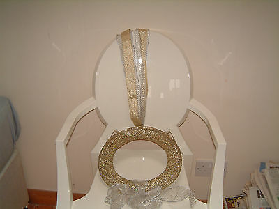 Unique Gold Indoor/outdoor Christmas Wreath With Large Wired Glitter Bow