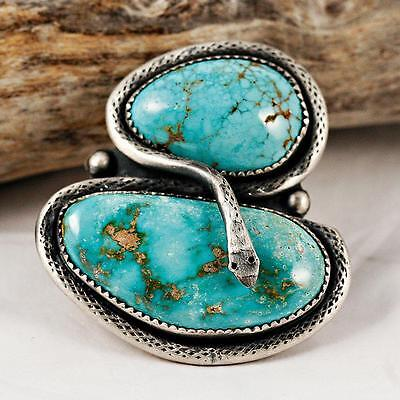 """Sacred Snake"" Ring Turquoise Sterling Silver Old Pawn Style 7 Native American"