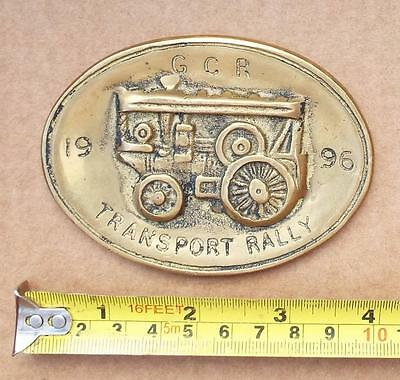 GCR Transport Rally 1996 Brass Plaque. Steam / Traction Engine.