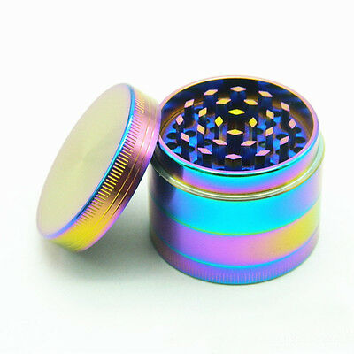 Rainbow Dazzle Color 4 Layers Metal Herb Zinc Alloy Spice Grinder Crusher 40MM