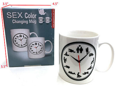 Color Changing Sexual Position Clock Themed Coffee Mug New In Box