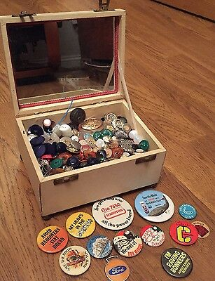 Vintage Load Of Tin Badges And Buttons Including Glass Etc.  In Jewellery Box