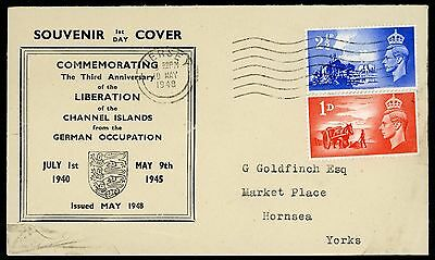 GB 1948 CHANNEL ISLANDS LIBERATION 1d & 2.5d ILLUSTRATED FDC JERSEY WAVY LINE