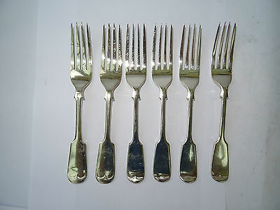 6 Vintage Assorted Silver Plated Fiddle Pattern Small Table Forks