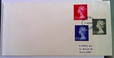 GB 1970 10p/20p/50p Machin definitive stamps on plain first day cover
