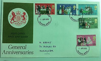 GB 1970 General anniversaries first day cover fdc Reading CDS