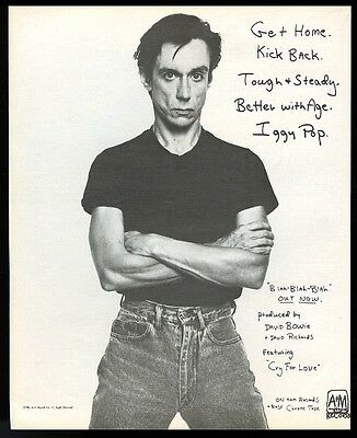 1986 Iggy Pop photo Blah Blah Blah album release vintage print ad