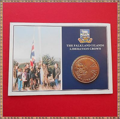 1982 THE FALKLAND ISLANDS LIBERATION CROWN COIN. nice presentation pack.
