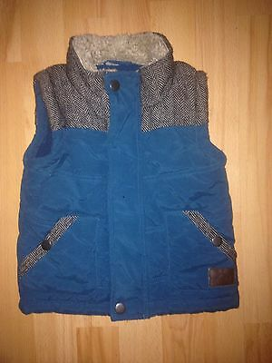 Boys Turquoise Tweed Style Body Warmer Gilet With Fur Collar - Age 2-3 Years