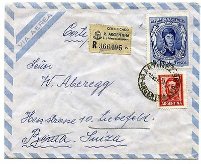 Argentina registered airmail cover to Switzerland