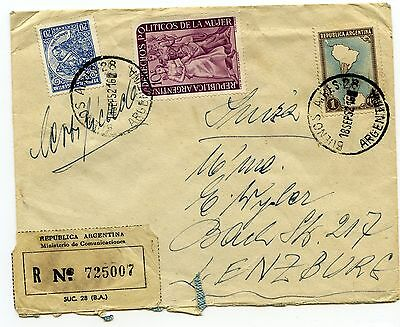 Argentina B. Aires registered airmail to Lenzburg Switzerland 1952
