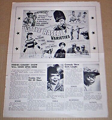 Little Rascals Varieties (1959) Our Gang With Spanky Original Pressbook !