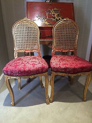 Pair Of Vintage  Small Gilt French Boudoir/ Side Chairs