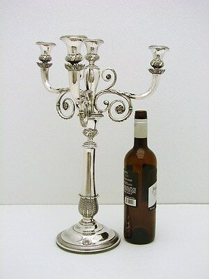 """Austrian Sterling Silver 18"""" 3 Arm Candelabra Candle with Imperial Warrant c1830"""